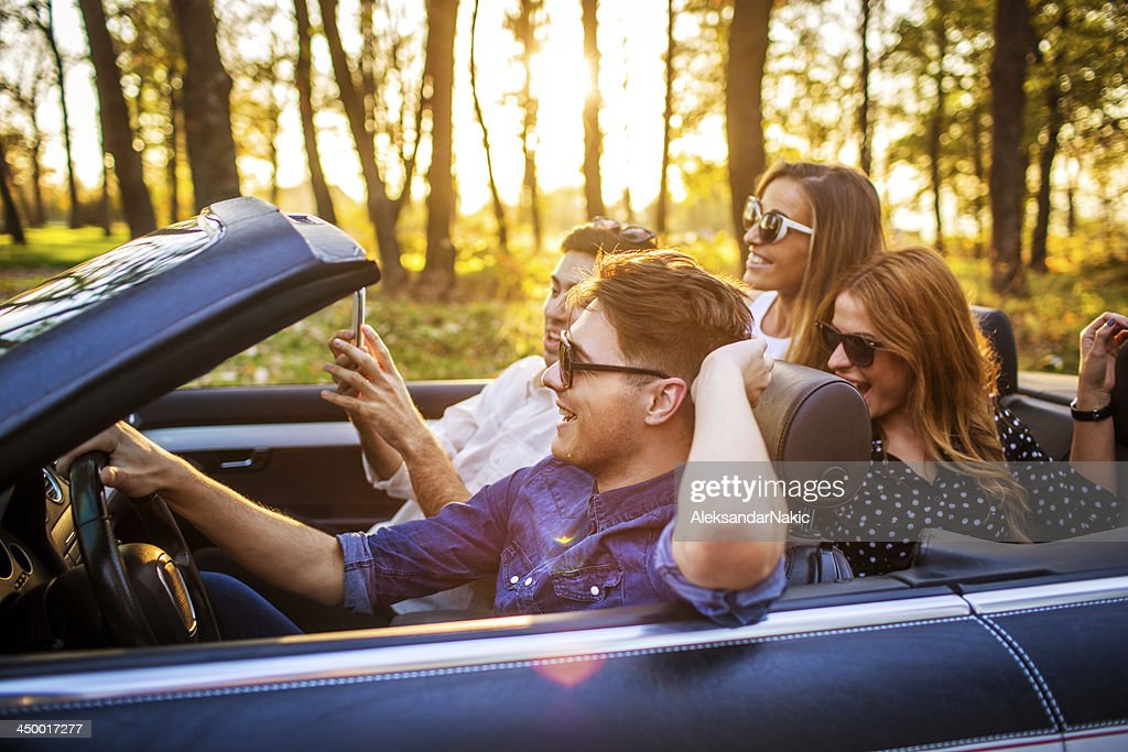 Friends on a road trip : Stock Photo
