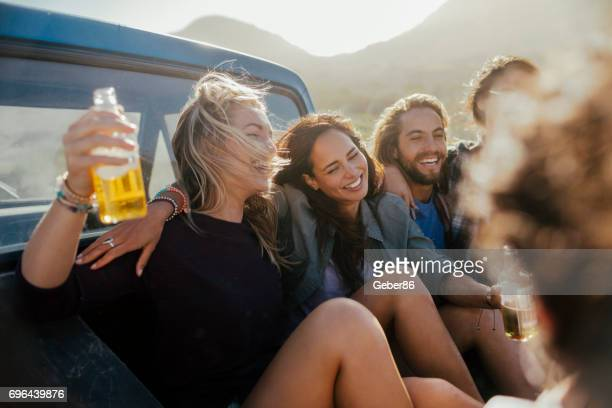 friends on a road trip - cider stock pictures, royalty-free photos & images