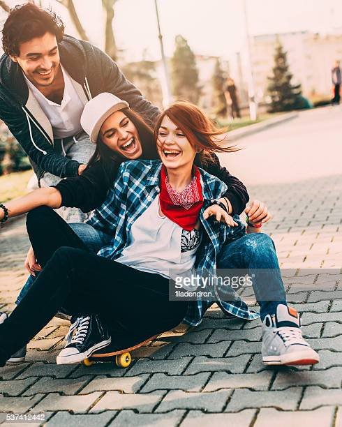Friends on  a skateboard