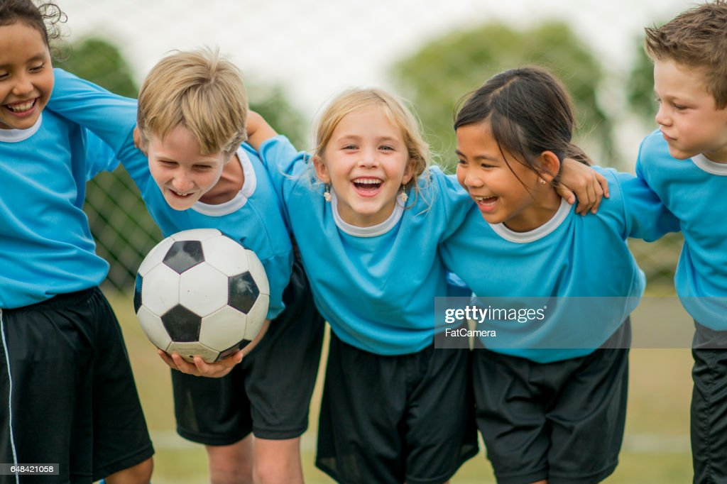 Friends on a Soccer Team : Stock Photo