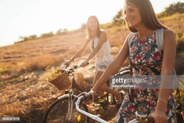 Friends on bicycles