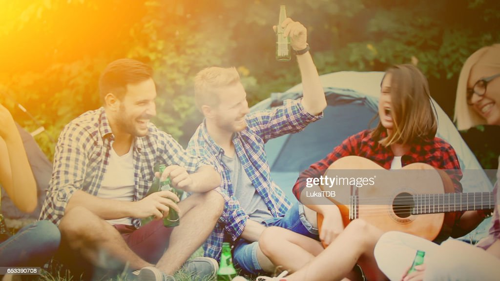 Friends on camping : Stock Photo