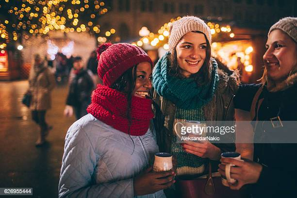 Friends on Christmas market