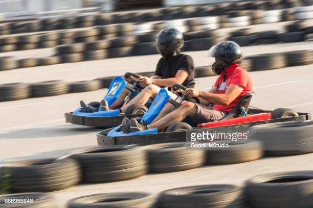 Friends on go-cart racing