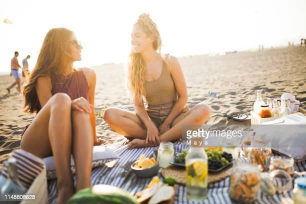 amigos en la playa - picnic fotografías e imágenes de stock