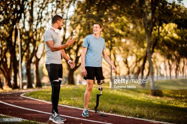 Friends on the running track