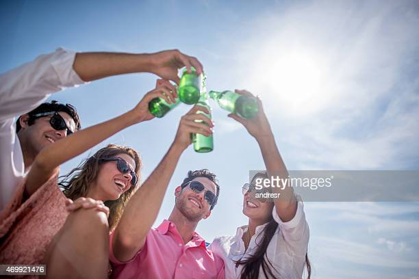 Friends on vacations making a toast
