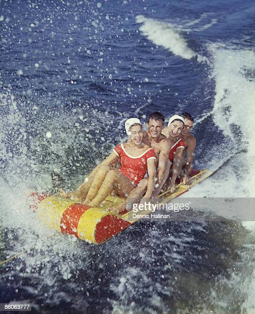 Friends on water sled