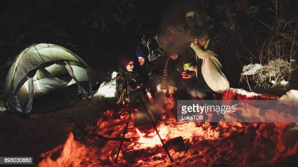 Friends on winter camping