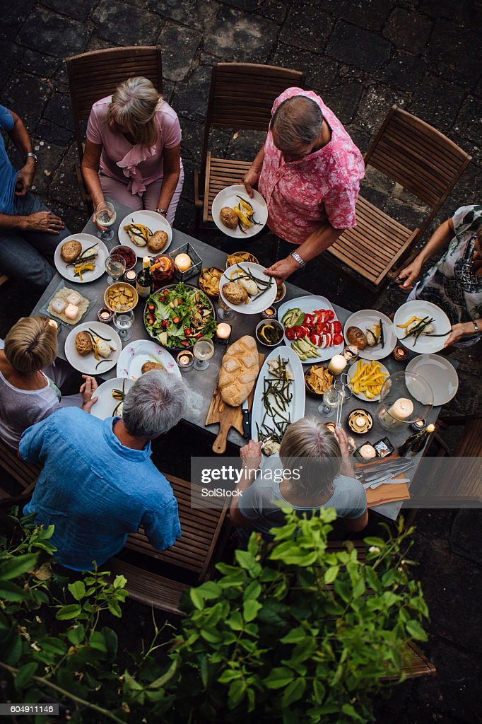 Friends Outdoors Dining : Stock Photo