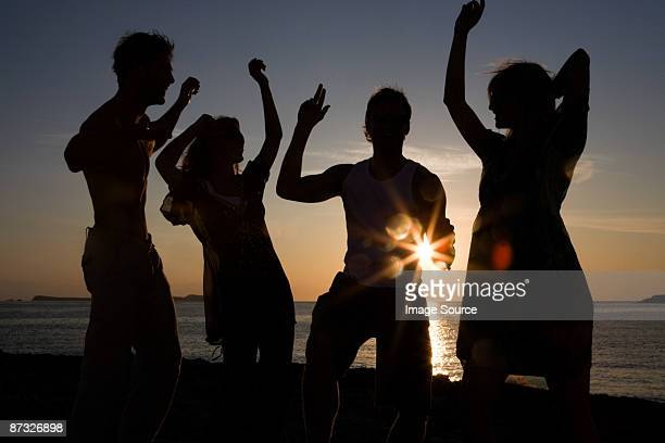 Friends partying on beach