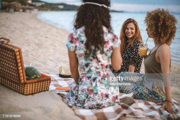 friends picnic on the beach - after party stock pictures, royalty-free photos & images