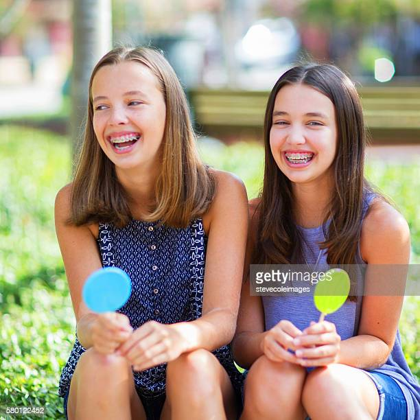 friends - beautiful girl smile braces vertical stock photos and pictures