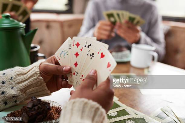 friends playing cards in camper van - suit stock pictures, royalty-free photos & images