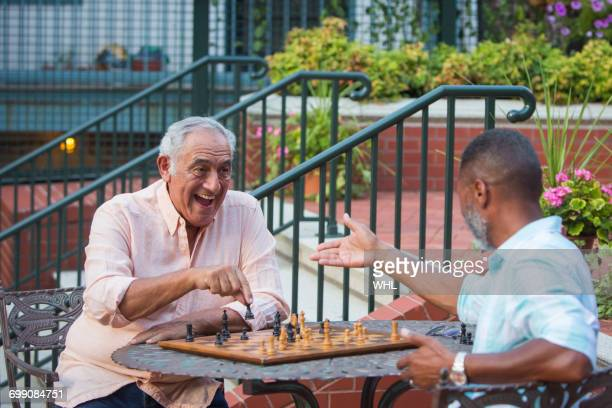 friends playing chess in garden - playing chess stock pictures, royalty-free photos & images