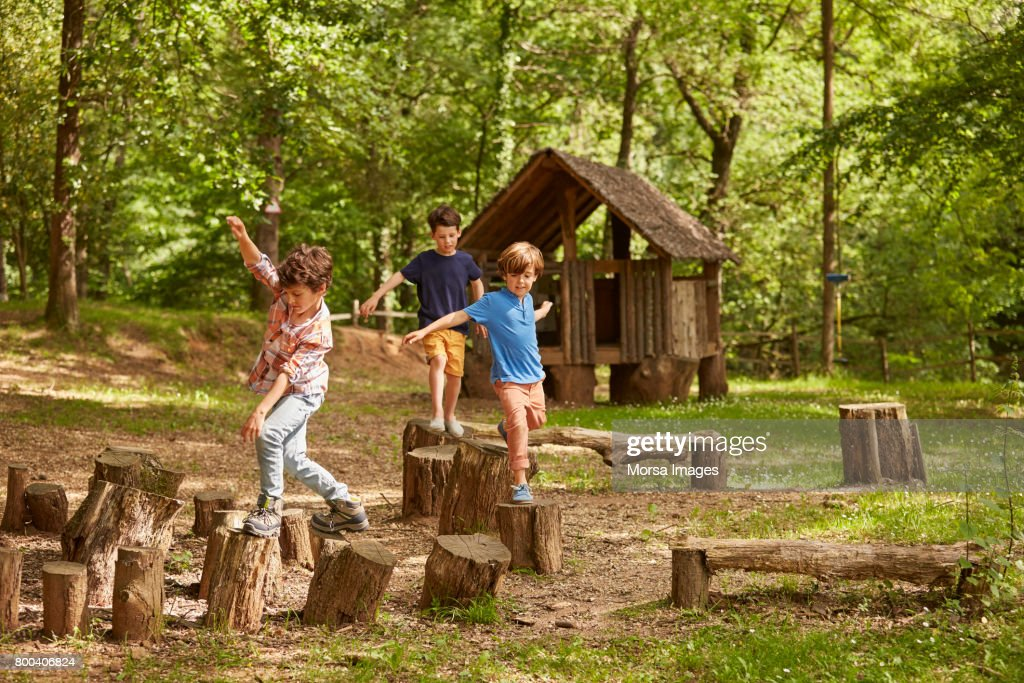 Friends playing on tree stumps in forest : Stock Photo