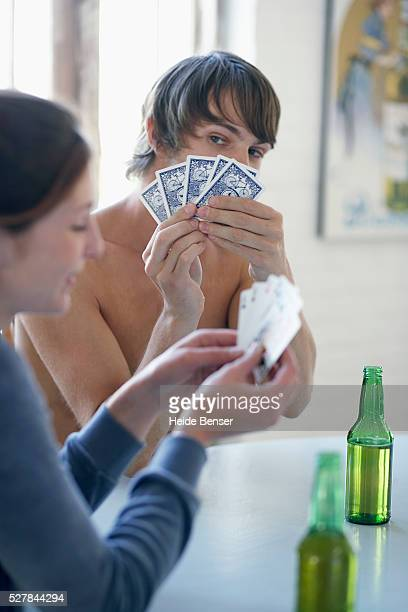 Friends playing strip poker