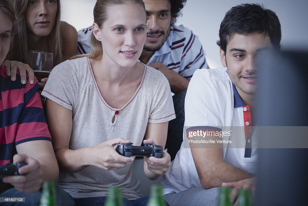 Friends Playing Video Games Together High-Res Stock Photo ...