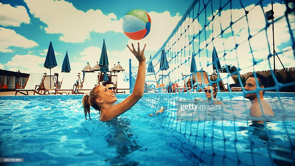 Girls Playing Volleyball Indoor Game Stock Photo - Image