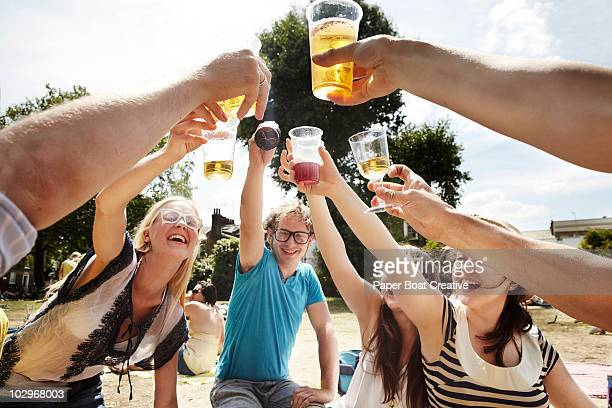 Friends raising a toast in the park