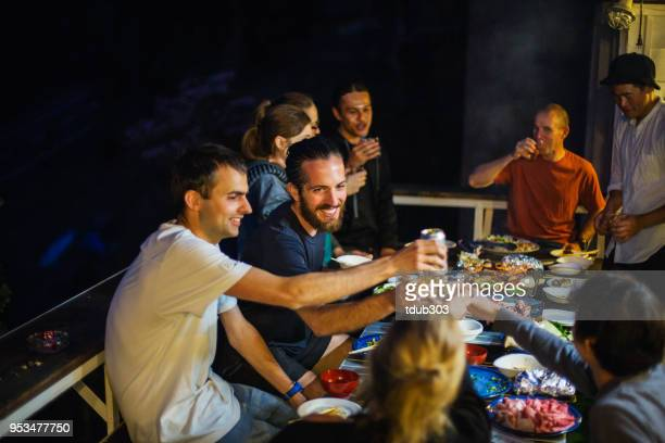 friends raising theirs glasses for a toast during a barbecue on a patio - hostel stock pictures, royalty-free photos & images