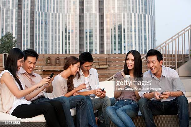 Friends Relaxing at an Outdoor Bar
