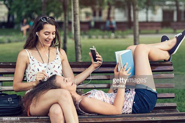Friends relaxing in the park