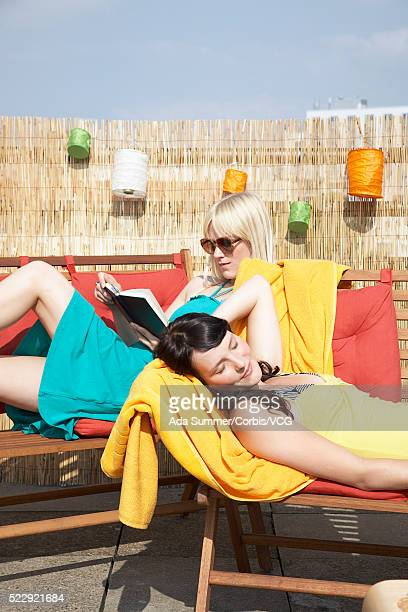 Friends relaxing on rooftop patio