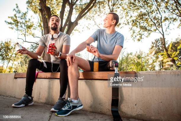 Friends resting after jogging