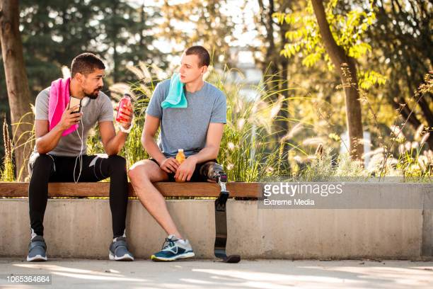 Friends resting after running