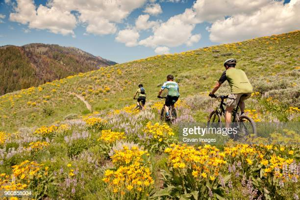friends riding bicycle on hill against cloudy sky - sun valley idaho stock photos and pictures