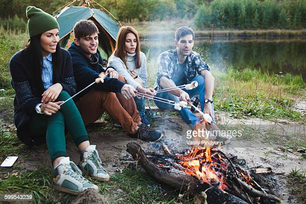 Friends roasting marshmallows in forest