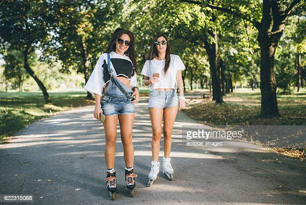 Friends rollerblading
