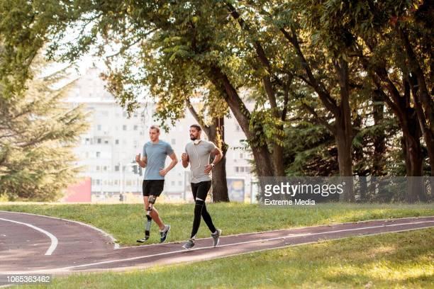Friends running outdoors