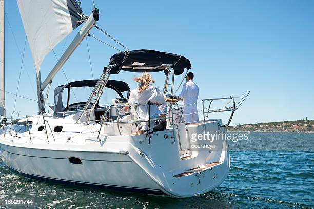 Friends sailing on a yacht