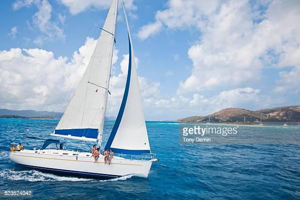 Friends sailing on sea