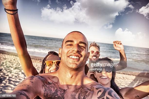 Freunde Selbstporträt auf den Strand