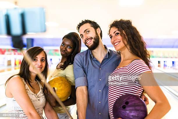 friends selfie at the bowling pub