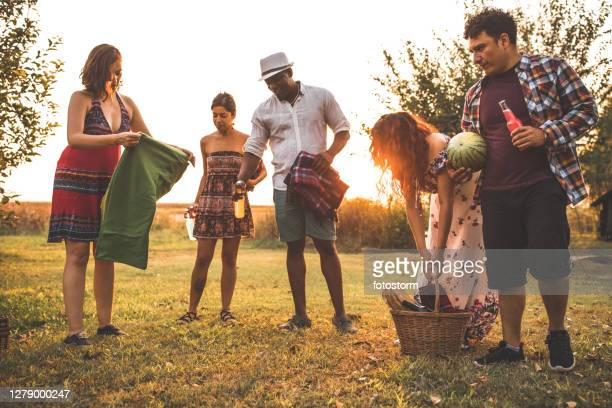 friends setting up the best place for a picnic - mexican picnic stock pictures, royalty-free photos & images