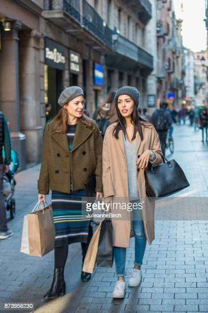 Friends shopping in the city