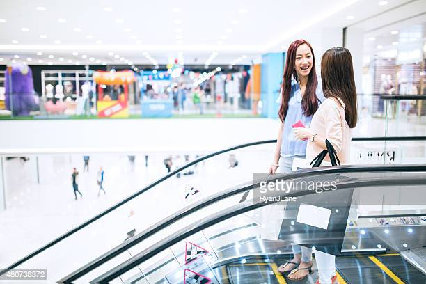 Friends Shopping Together In Mall