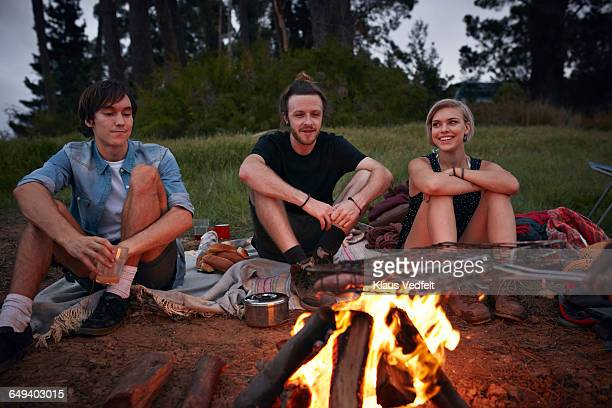 friends sitting around bonfire - snag tree stock pictures, royalty-free photos & images