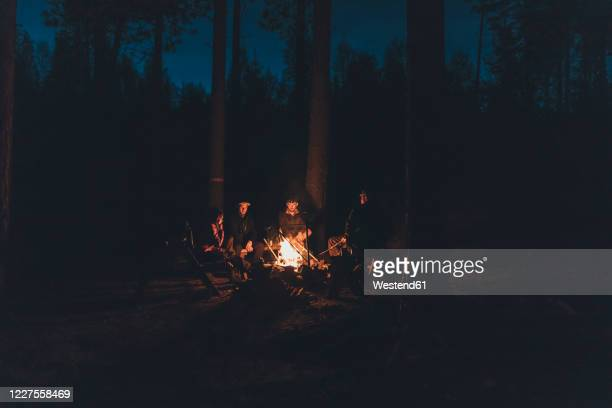 friends sitting at campfire in the woods - キャンプファイヤー ストックフォトと画像