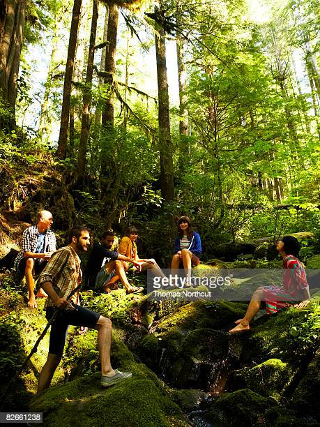 Friends sitting in forest