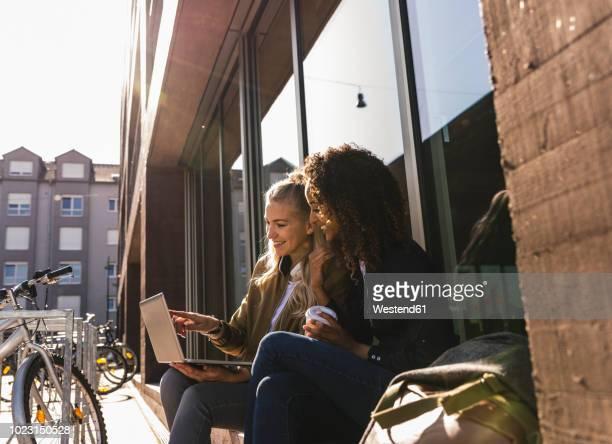 friends sitting in front of window in the city, using laptop - studenten stock-fotos und bilder