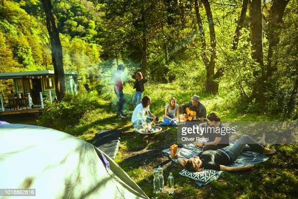 friends sitting together in nature making music - 数人 ストックフォトと画像