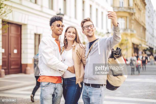 Friends spending time together in the city