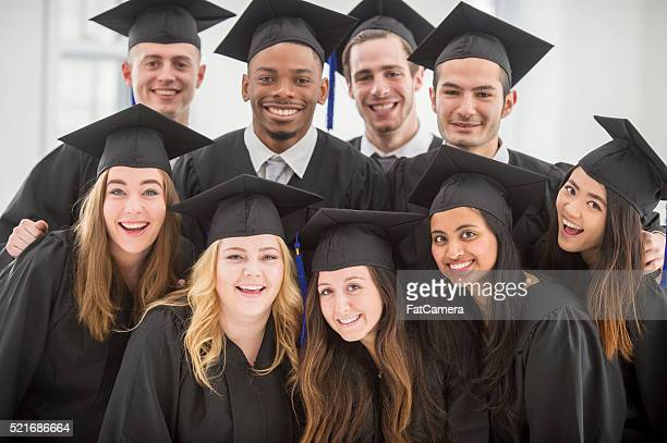 Friends Standing Together After Graduation