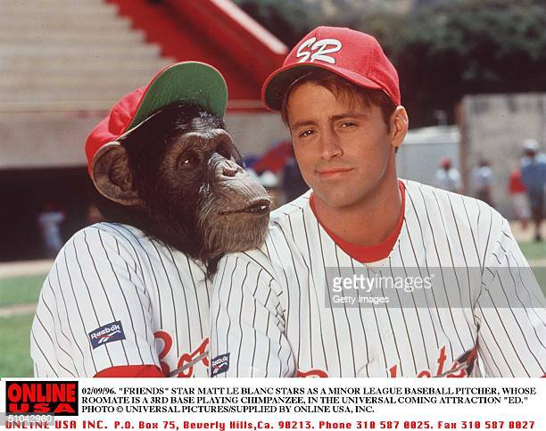 02/09/96 'Friends' Star Matt Le Blanc Stars In Universal Pictures New Release 'Ed' The Film Is About A Minor League Pitcher Whose Chimpanzee Roommate...