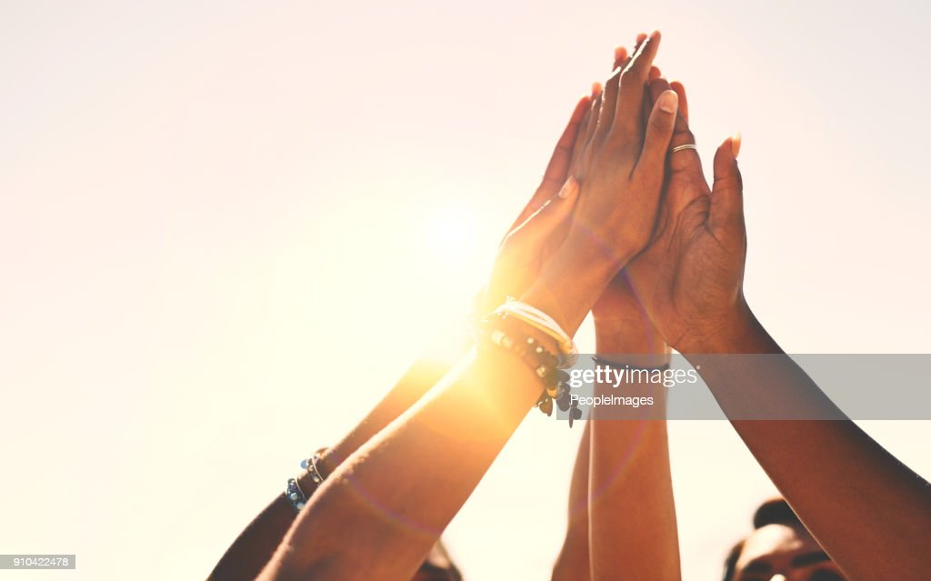 Friends stick together! : Stock Photo